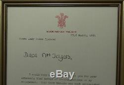 Princesse Diana Signée À La Main Lettre Autographe Libre Buckingham Palace Signature