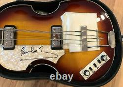 Psa / Adn Beatles Paul Mccartney Signé Guitare Basse Autographié Hofner Gaucher