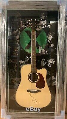 Rare Encadrée Ed Sheeran Signée À La Main Guitar + X ÷ Avec Photo Et Coa