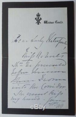 Reine Victoria Autograph Signée À La Main Lettre Windsor Castle Signature Libre