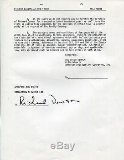 Richard Dawson Signé À La Main Contrat De Trois Pages De 1982 Family Feud