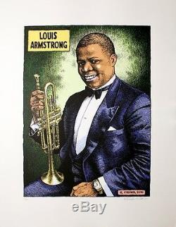 Robert Crumb Louis Armstrong Jazz Poster Limité À La Main Numéroté / Autographié