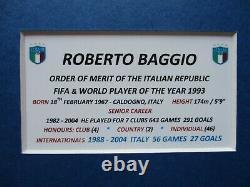 Roberto Baggio Légende Italienne Signé À La Main A3 Photo Mount Display Coa