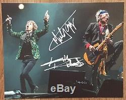 Rolling Stones Mick Jagger, Keith Richards Signée À La Main Photo Autographiée Coa
