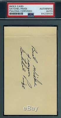Satchel Paige Psa Adn Coa Autograph Signée À La Main 3x5 Carte Index