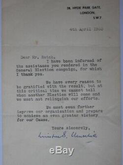 Sir Winston Churchill Signée À La Main Lettre Londres 4ème Avril 1950