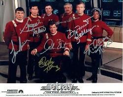 Star Trek The Final Frontier Hand Signé 10x8 Col Photo Autographiée Par Tous Les Acteurs