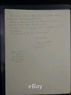 Steve Ditko Lettre Autographiée Et Manuscrite Autographiée Et Signée, 2 Pages