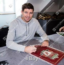 Steven Gerrard, Autographe Doré À La Main Signé Pennant De Liverpool