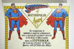Superman Metropolis Award Hand Signé Par Joe Shuster Jerry Siegel & Kirk Alyn