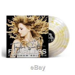 Taylor Swift Autographié À La Main, Autographié, Sans Peur, Lp Édition Platinum, Vinyle Doré