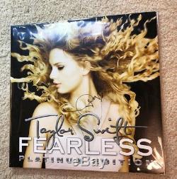 Taylor Swift Signée À La Main Autographié Sans Peur Album 12 Lp Vinyle Preuve Authentique