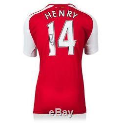 Thierry Henry Véritable Signée À La Main Shirt Arsenal Autograph Jersey Coa