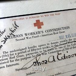 Thomas Edison Jsa Loa Signée À La Main Autograph Croix-rouge Carte Fonds Première Guerre Mondiale