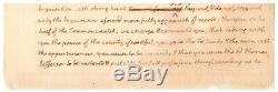 Thomas Jefferson Autograph Document Signé Avec Près De 100 Mots Dans Sa Main