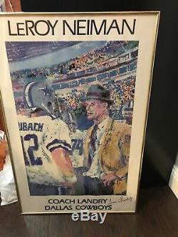 Tom Landry Autographié Peint À La Main Par Leroy Neiman Signé Entraîneur Landry Signé