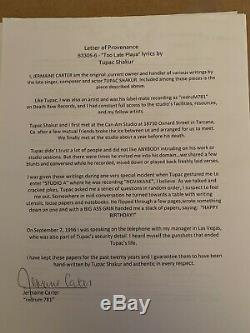 Tupac Shakur 2pac - Paroles Écrites À La Main Autographiées Et Signées Jsa