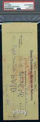 Ty Cobb Psa Adn Coa Autograph Signée À La Main 1946 Check