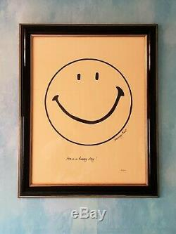 Ultra Rare Harvey Ball Smiley Créateur Hand Drawn Signé Numéroté Encadrée Coa