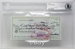 Vince Lombardi, Légende Des Emballeurs Du Film Hof De Green Bay Check Autographiée Et Manuscrite