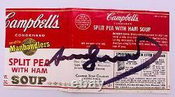 Vintage Andy Warhol Signé Autographié Cambell's Soup Label