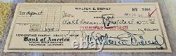 Walt Disney Autograph / Chèque Bancaire Signé À La Main 1947 / Belle Signature