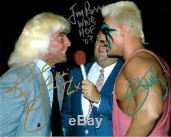 Wwe Sting Ric Flair Et Jim Ross Signée À La Main Autographié 8x10 Photo Avec Coa