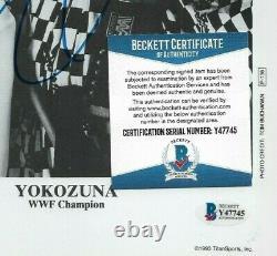 Wwe Yokozuna P-136 Hand Signed Autographed 8x10 Promo Photo Avec Beckett Coa
