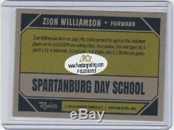 Zion Williamson Autograph Carte Rc Avec Pélicans / Duc Signés À La Main Par La Coa